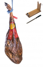 Jamón de bellota 50% ibérico Sánchez Bermejo entero + jamonero + cuchillo