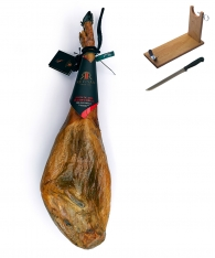 Jamón de Cebo de Campo ibérico 50% Raza Ibérica Revisan Ibéricos entero + jamonero + cuchillo