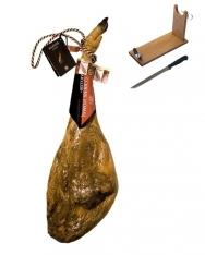 Jamón ibérico de bellota DO de Guijuelo Revisan Ibéricos entero + jamonero + cuchillo