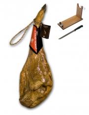 Jamón ibérico de cebo certificado Revisan Ibéricos entero + jamonero + cuchillo