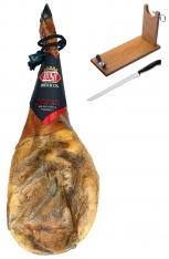 Paleta de Cebo de Campo Ibérica 50% Raza Ibérica Revisan Ibéricos entera + jamonero + cuchillo